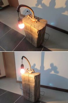 Very nice lamp, very refined, it is made from a base made of a log/trunk out of raw wood (slightly polished) on which is placed an old copper faucet.          A simple light bulb offers you soft light to stay in the simple, natural and raw side of the object.  Socket with a switch (the #Bedside #Copper #Diylighting #Farmhousedecor #Handmadelighting #Lamp #Lightbulb #Lighting #Lightingdesign #Metallic #Recycle #Rusticlighting #Steampunk #Woodlamp #Woodworking