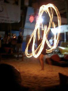 Fire dancer to entertain us while we had dinner along the beach, Boracay