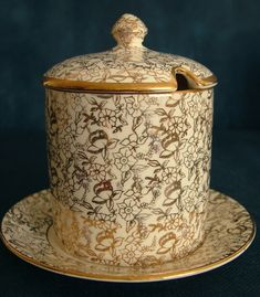Vintage Thomas Forester & Sons Floral Gilded Jam Pot and Underplate Legacy Antiques and Collectibles Ltd 1930s, Sons, Antiques, Floral, Vintage, Antiquities, Antique, Flowers, My Son
