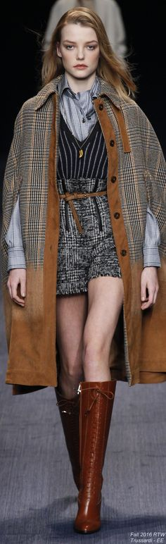 Fall 2016 Ready-to-Wear Trussardi Date:  June 17, 2016 Notation:  This garment has different fabrics mixed together, the colors are subtle yet the mixed textiles make it intriguing.                                                                                                                                                      More