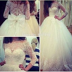 2015 Vestidos de novia Ball Gown Wedding Dresses Wedding Gowns with Lace Appliques and Sequins Bow Back Three Quarter Sleeves -in Wedding Dresses from Weddings & Events on Aliexpress.com | Alibaba Group