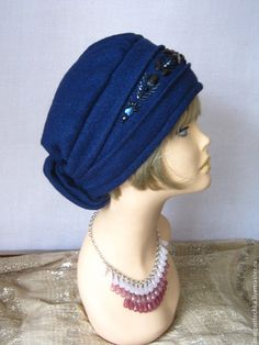 """Шапки ручной работы. Ярмарка Мастеров - ручная работа. Купить """"Полина"""" шапочка с вышивкой. Handmade. Синий, для полных женщин"""