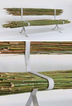 Bamboo Bench raw wood aluminum bench. C.C. Sic Viresco 3hreebees