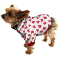 Small Dog Hoodie Sweatshirt - Red Hearts