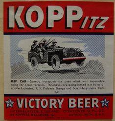 Koppitz-Melcher, Inc. produced Koppitz Victory Beer during World War II.  Detroit,  MI   (michigan.gov/dnr)