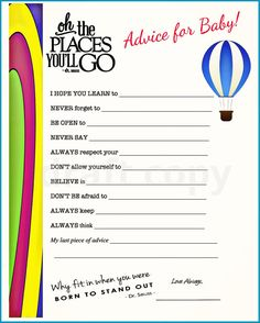 Baby Shower- Baby Advice -Dr. Seuss Quote/Theme- Oh, The Places you will go!