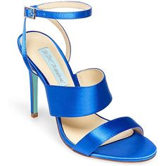 Betsey Johnson Jenna Ankle Strap Stiletto Sandal ($65) ❤ liked on Polyvore featuring shoes, sandals, blue, blue sandals, blue stilettos, betsey johnson sandals, open toe slingback and betsey johnson shoes