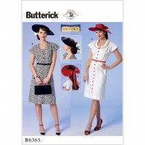 Misses Button-Front, Flutter Sleeve Dresses and Sun Hat Butterick Sewing Pattern…