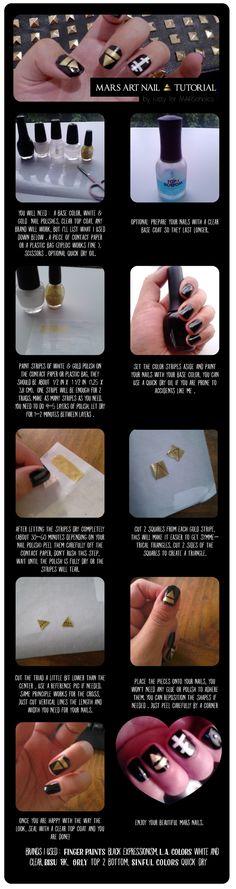 MARS Nail Art tutorial. #30secondstomars #30stm #nailart #marsnails #triad #glyph
