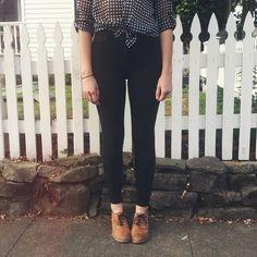 oversized shirt, black bottoms, brown boots