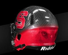 NC State unveils new football helmet, which features wolf eyes Cool Football Helmets, Football Helmet Design, Football Gear, College Football Uniforms, Sports Uniforms, Nc State Wolfpack Football, Nc State University, New Helmet, Black Helmet