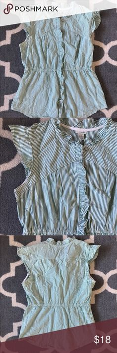 Striped ruffled button up shirt Purchased from Anthropologie. Shirt is green and white striped. Button up with elastic waist detail for a feminine fit. Cute Ruffle detail on sleeves and closure. Gently used. No stains. Anthropologie Tops