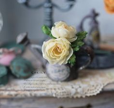 Dollhouse miniature flowers- Creamy Roses by CheilysMiniature on Etsy
