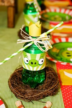 angry birds beverages (use green, red, and blue hawaiian punch)