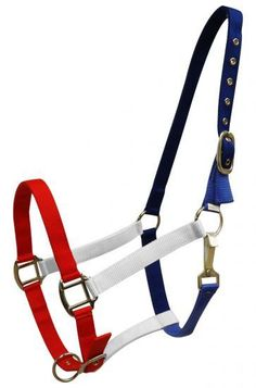 Dark Horse Tack is proud to offer... Showman® Red, White and Blue nylon halter. This halter features 2 ply nylon with nickel plated hardware and eyelets. Adjustable on crown and nose. Please allow 5-7