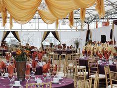 Plum & gold wedding decor. Stunning!