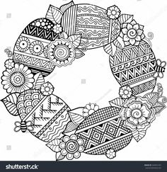 Adult Coloring Pages for Easter Inspirational Hand Draw Vector Rounder Frame Coloring Book for Adult Colouring Sheets For Adults, Easter Coloring Sheets, Coloring Easter Eggs, Colouring Pages, Coloring Books, Zentangle Patterns, Embroidery Patterns, Printable Adult Coloring Pages, Colorful Pictures