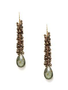 Pyrite & Moss Aqua Drop Earrings by Padma on Gilt