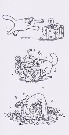 Simon's Cat - Unwrapping Present Greeting Card - CardSpark