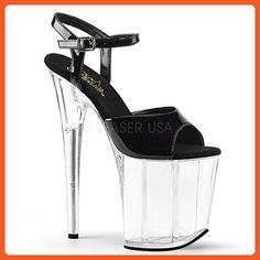 Pleaser Women's Flam809/b/c Platform Sandal, Black Patent/Clr, 7 M US - Sandals for women (*Amazon Partner-Link)