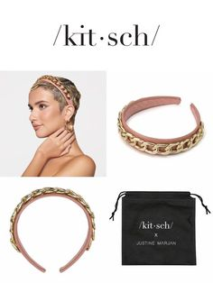 Shop Patent Headband with Chain from KITSCH X Justine Marjan and other hair accessories from KITSCH Leather Headbands, Alice Band, Headband Hairstyles, Kitsch, Scrubs, Blush, Make Up, Hair Accessories, Hoop Earrings