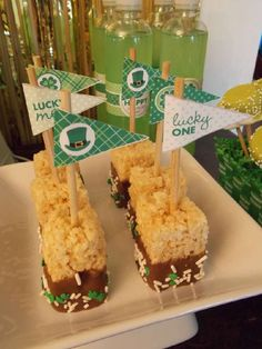 St. Patty's dessert table on a Dollar Tree budget!   CatchMyParty.com