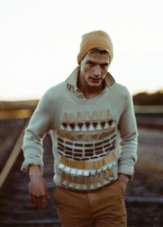 cool sweater and knit cap
