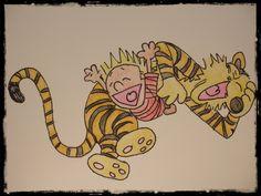 Calvin and Hobbes watercolor, origina watercolor, signed watercolour, orange watercolor, animal watercolor, tiger watercolor - pinned by pin4etsy.com