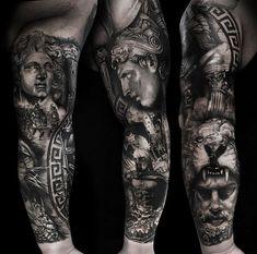 Greek mythology black and grey realism sleeve by from Sydney, Austra. - Greek mythology black and grey realism sleeve by from Sydney, Australia. Portrait Tattoo Sleeve, Lace Sleeve Tattoos, Vintage Tattoo Sleeve, Tiger Tattoo Sleeve, Black And Grey Tattoos Sleeve, Nature Tattoo Sleeve, Sleeve Tattoos For Women, Tattoo Sleeve Designs, Tattoo Designs Men