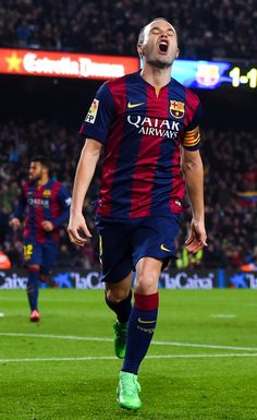 Andres Iniesta of FC Barcelona celebrates after scoring his team's second goal during the Copa del Rey Semi-Final first leg match between FC Barcelona and Villarreal CF at Camp Nou on February 11, 2015 in Barcelona, Catalonia.