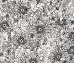 pencil flowers small fabric by scrummy on Spoonflower - custom fabric
