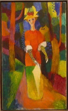 Very orphic August Macke, showing the influence of the Delauneys -  Woman in park, 1914
