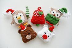 Christmas Crochet Decorations: owl penguin bell and bear