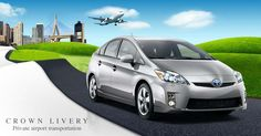 Create a moving illustration of a Prius heading out of Boston Logan Airport for Crown Livery by Gabor Heidt