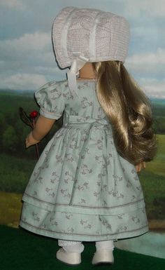 1850 Day Dress and Bonnet for 18 Inch Dolls like Cecile & Marie Grace