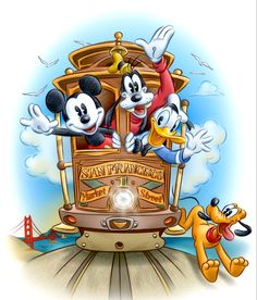 ✶ Mickey, Goofy and Donald take a ride on a San Francisco trolly while Pluto chases along the side of it. ★