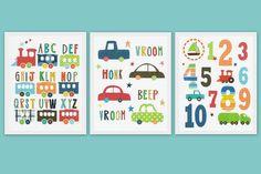 Nursery art prints, Children room decor, kids wall art, baby boy nursery art, boys room art, set, cars, numbers, alphabet, trains via Etsy