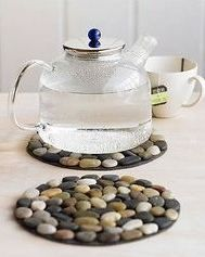 Stones glued to felt = hot pad. So cute!!