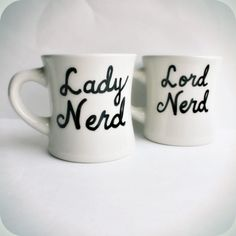 Nerd coffee mug tea cup set couple anniversary black white Wedding Just Married his hers. $25.00, via Etsy.