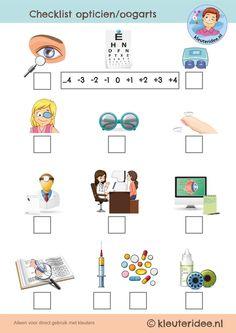 checklist opticien oogarts, rollenspel thema 'het oog', kleuteridee, free printable.