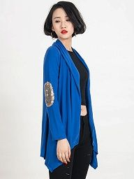 Shop Rose Patch Elbow Sequin Detail Long Sleeve Waterfall Cardigan from choies.com .Free shipping Worldwide.$11.9