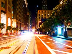 City Lights: Taken at midnight in San Francisco in the Financial District. Amazing Photos, Cool Photos, San Francisco At Night, City Lights, Spaces, Pictures, Travel, Photos, Trips