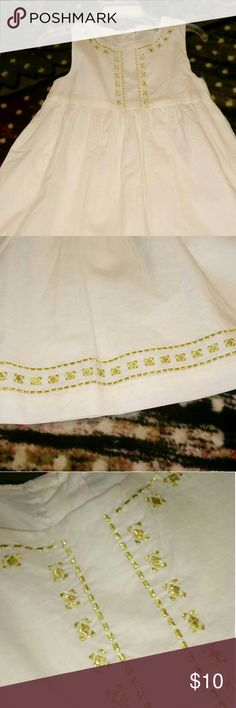 Eggshell baby dress Eggshell and gold embroidered trim crazy 8 Dresses Casual