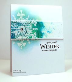 Warm Comforts for Winter. I think of cozy blankets, hot chocolate, a warm fireplace. It's half way through January (already!) and time for another card for the CAS WATERCOLOUR Challenge.  I just got t