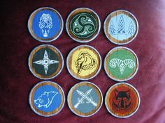 Skyrim coasters! I need those and I need to remember which is which