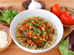 Easy meatless meal with eggplant, zucchini, tomatoes & fresh basil. Inspired by ciambotta, a stew from Southern Italy. Vegan or vegetarian, Kosher.