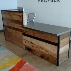 Reclaimed Wood/Steel Reception Desk by Daniel Chase