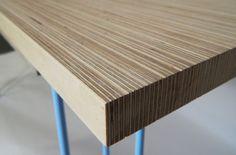 End grain plywood desk , simple multi functioning legs