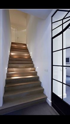 Your-Home/ modern staircase, contemporary stairs, staircase design, stairca Rustic Stairs, Wood Staircase, Wooden Stairs, Modern Staircase, Staircase Design, Staircase Ideas, Staircase Remodel, Staircase Makeover, Basement Stairs