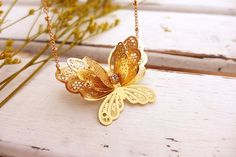 Butterfly Wing Necklace, Gold Butterfly Necklace, 3d Butterfly Jewelry, Gold Bib Necklace, Statement Necklace, Long Pendant Necklace for mom  I am a
